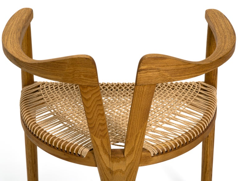 American Studio Craft Tri-Leg Chair in Oak with Woven Seat after Hans Wegner For Sale 6