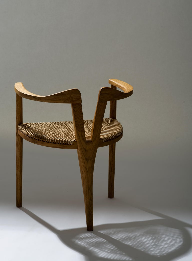 American Studio Craft Tri-Leg Chair in Oak with Woven Seat after Hans Wegner For Sale 8