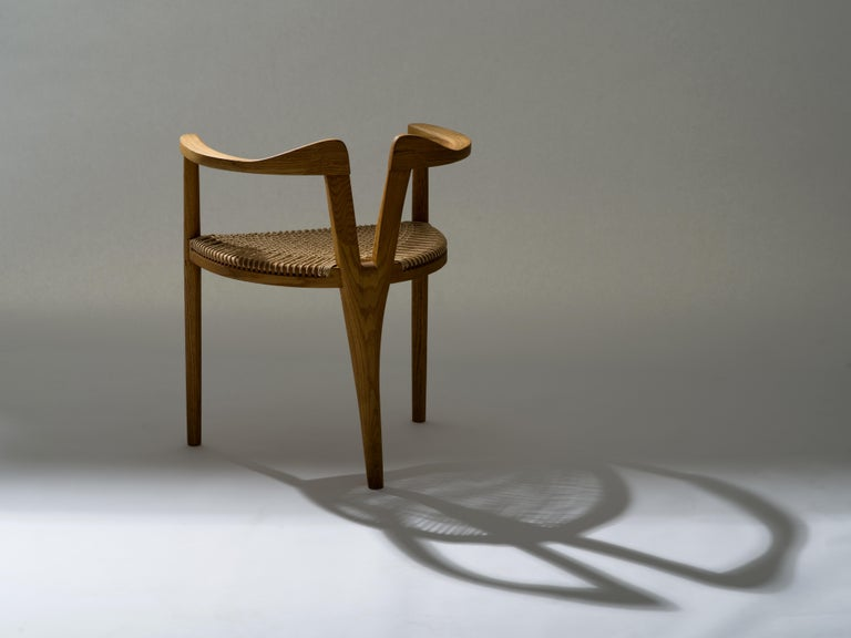 American Studio Craft Tri-Leg Chair in Oak with Woven Seat after Hans Wegner For Sale 9