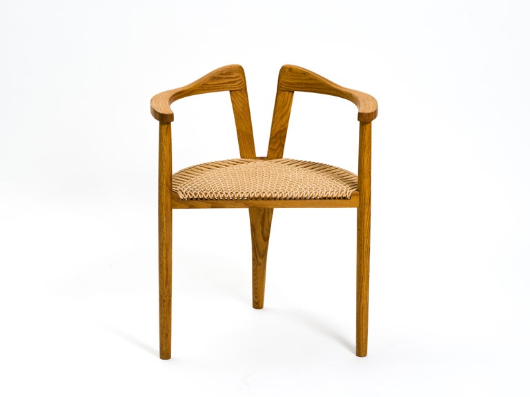 Organic Modern American Studio Craft Tri-Leg Chair in Oak with Woven Seat after Hans Wegner For Sale