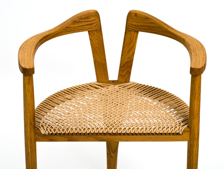 Papercord American Studio Craft Tri-Leg Chair in Oak with Woven Seat after Hans Wegner For Sale