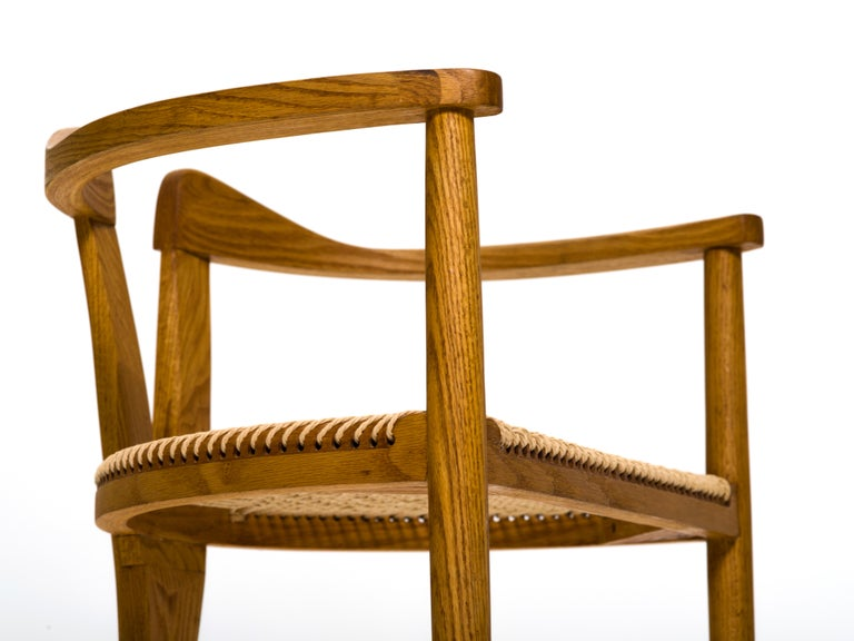 American Studio Craft Tri-Leg Chair in Oak with Woven Seat after Hans Wegner For Sale 1
