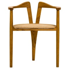 American Studio Craft Tri-Leg Chair in Oak with Woven Seat after Hans Wegner
