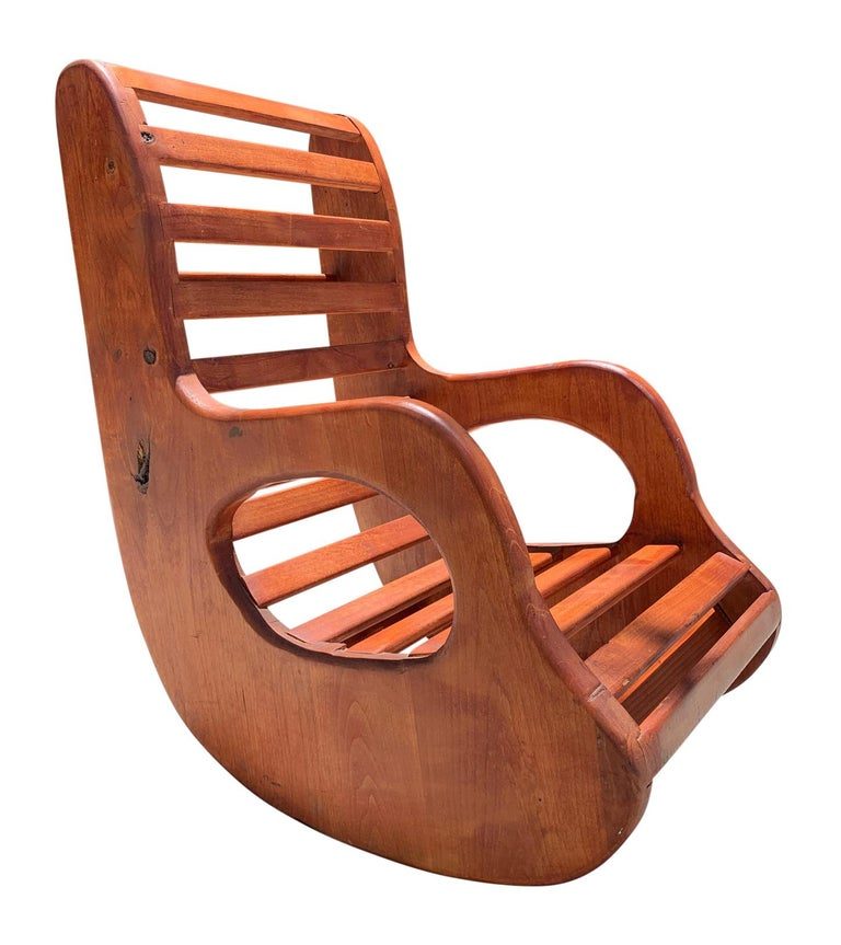 American studio craft wood rocking chair.