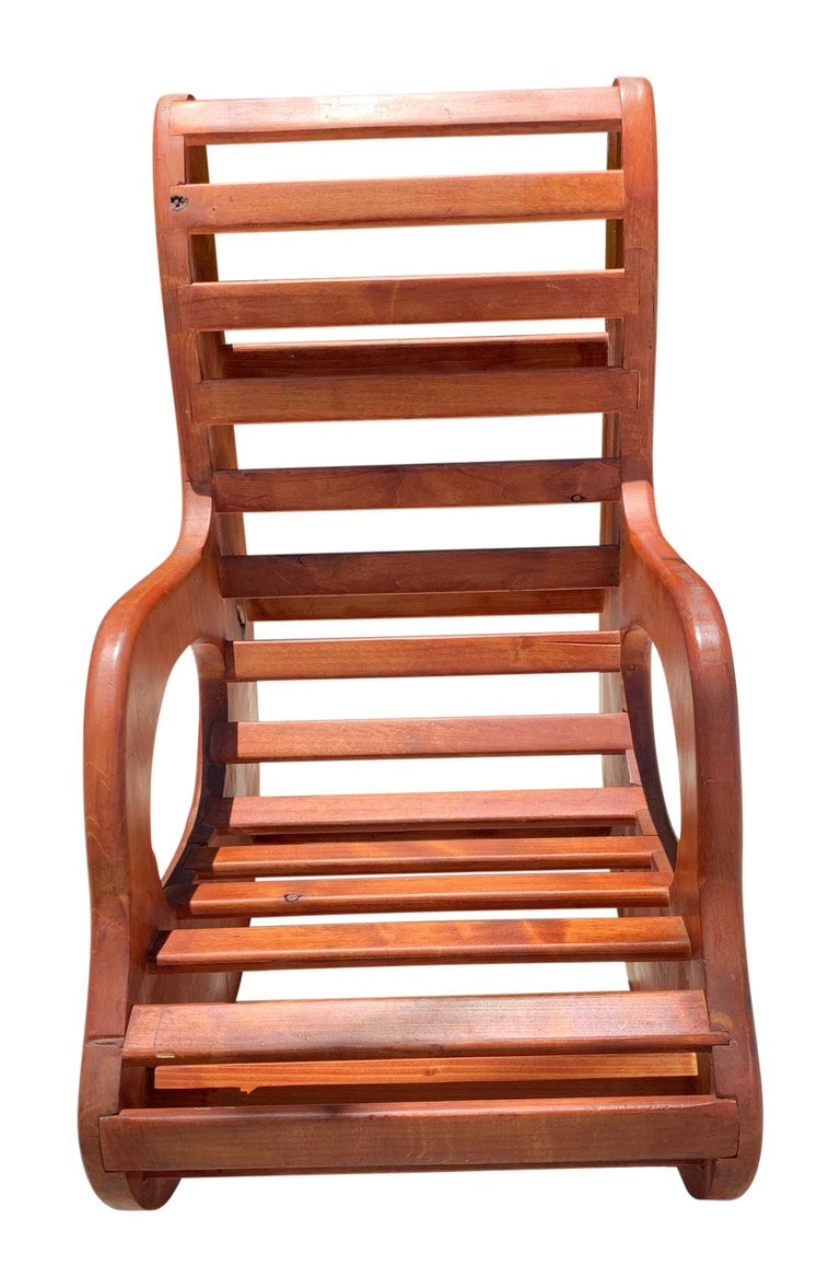 North American American Studio Craft Wood Rocking Chair Mid-Century Modern For Sale