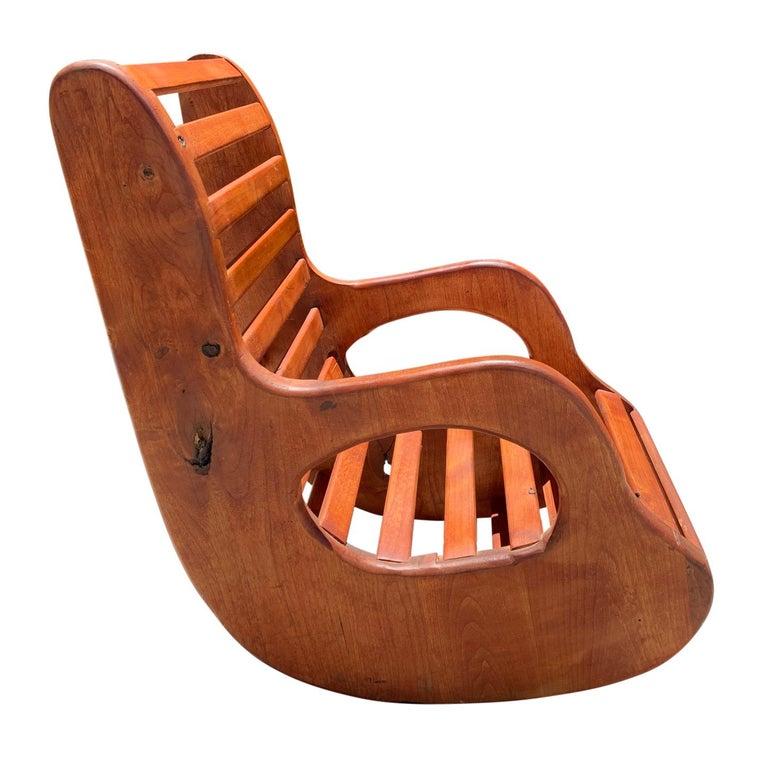 Stained American Studio Craft Wood Rocking Chair Mid-Century Modern For Sale