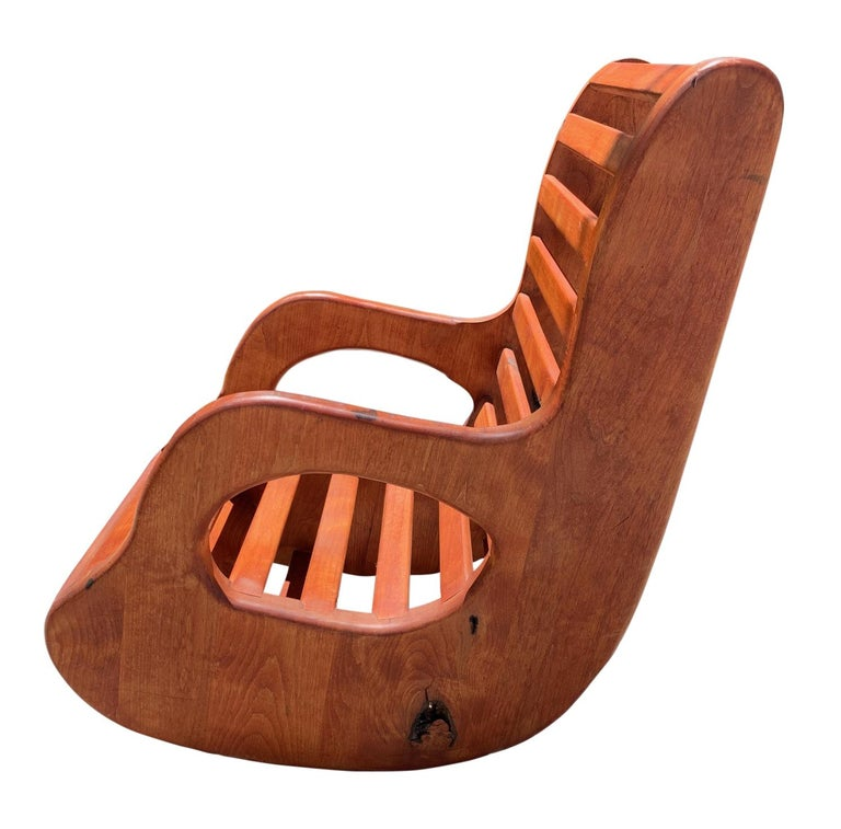 American Studio Craft Wood Rocking Chair Mid-Century Modern In Good Condition For Sale In West Palm Beach, FL