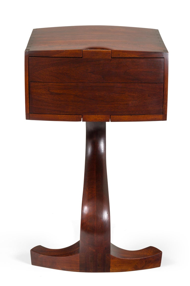 Mid-20th Century American Studio Crafts Movement Walnut Two-Drawer Stand, USA 1960s For Sale