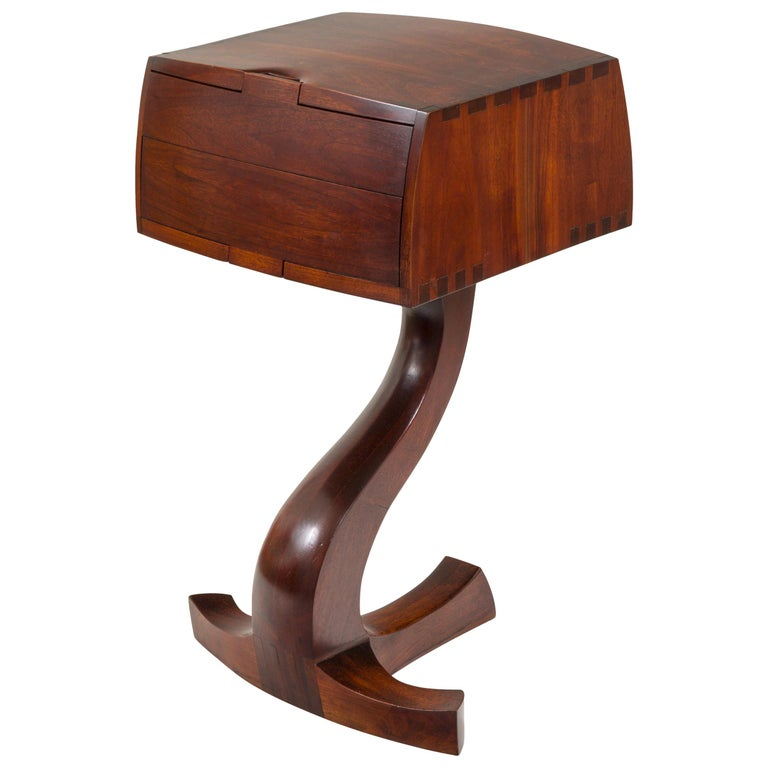 American Studio Crafts Movement Walnut Two-Drawer Stand, USA 1960s For Sale