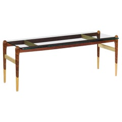 American Studio Handmade Modern Walnut and Maple Coffee Table with Glass Top