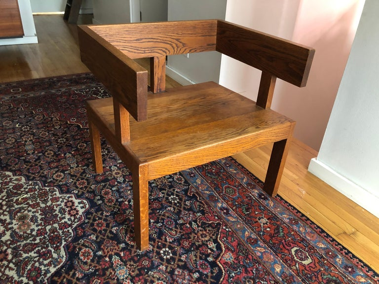 Vintage de Stijl style Studio Craft Oak Armchair In Good Condition For Sale In Hudson, NY