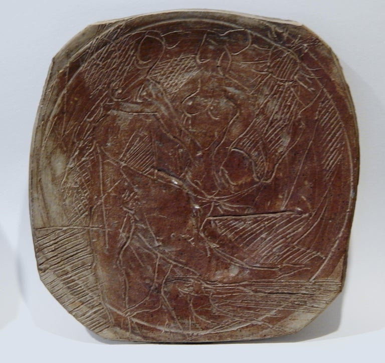 20th Century Peter Voulkos American Studio Potter, Large Charger, circa 1950-1955 For Sale