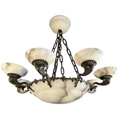 American Style Art Deco Bronze and Alabaster Shades Chandelier or Pendant Light