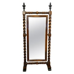 American Style Mahogany and Bronze Cheval Mirror