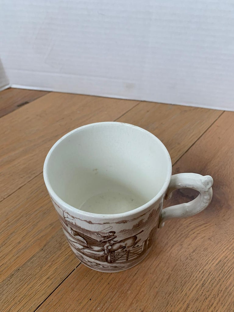 American Transferware Porcelain Mug with Horse/Equestrian by Anchor Pottery For Sale 7