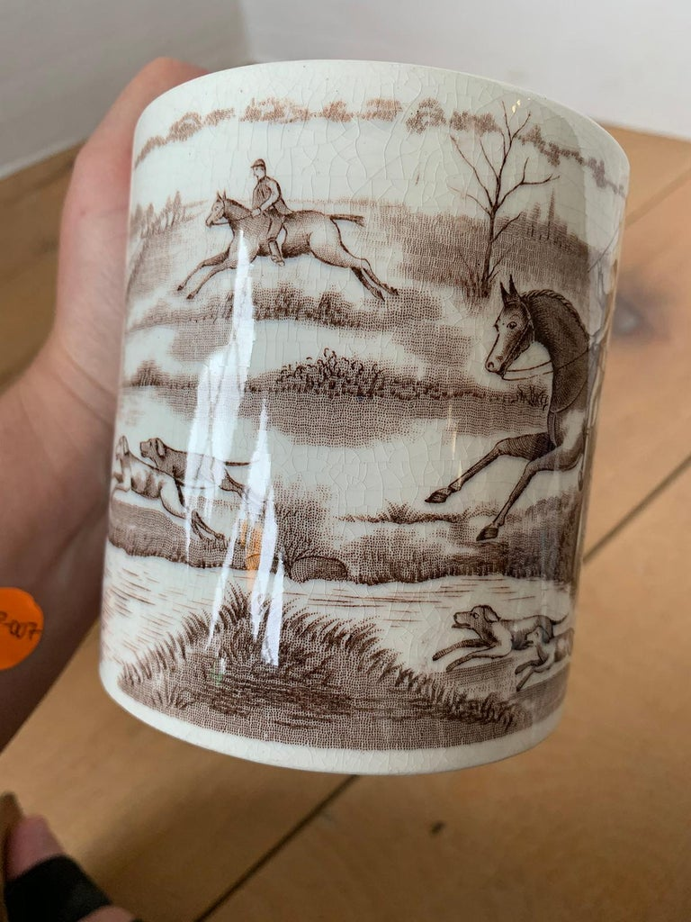 American Transferware Porcelain Mug with Horse/Equestrian by Anchor Pottery For Sale 9