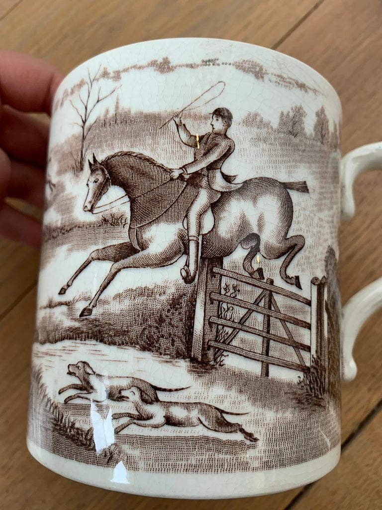 American Transferware Porcelain Mug with Horse/Equestrian by Anchor Pottery For Sale 1