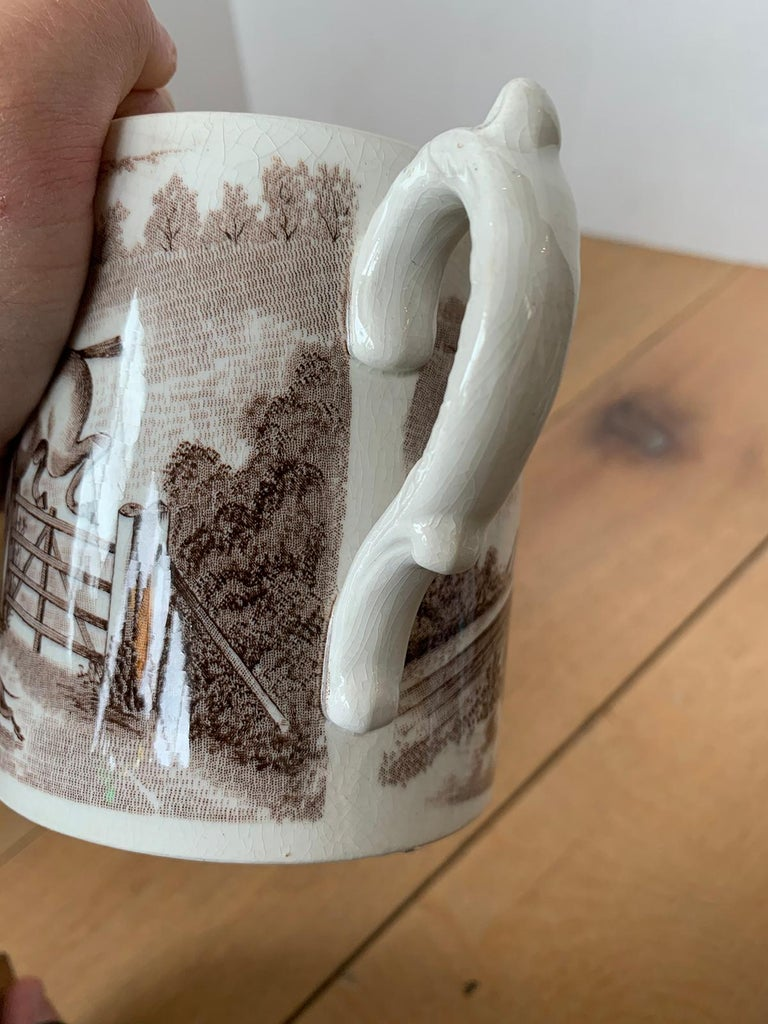 American Transferware Porcelain Mug with Horse/Equestrian by Anchor Pottery For Sale 3