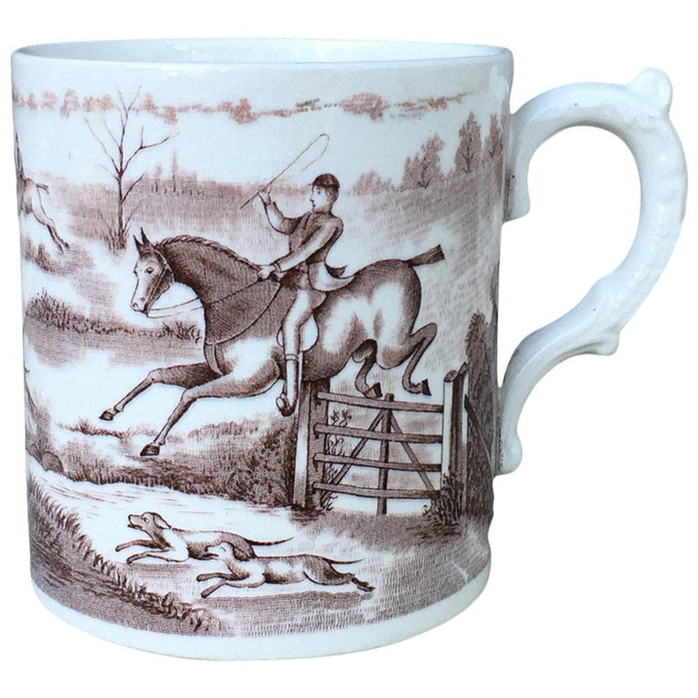 American Transferware Porcelain Mug with Horse/Equestrian by Anchor Pottery For Sale