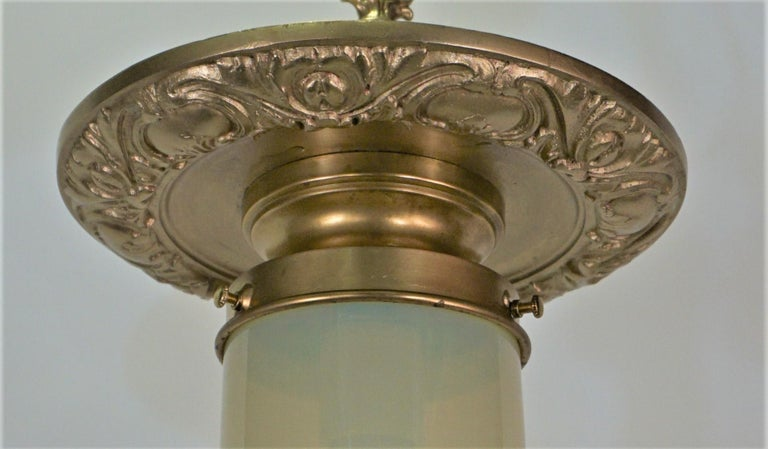 Early 20th Century American Vaseline Glass and Brass Pendent or Chandelier For Sale