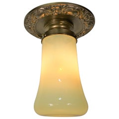 American Vaseline Glass and Brass Pendent or Chandelier