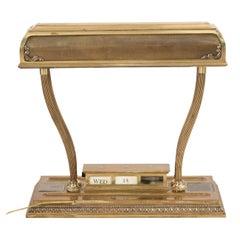 American Victorian Brass Desk Lamp and Calendar