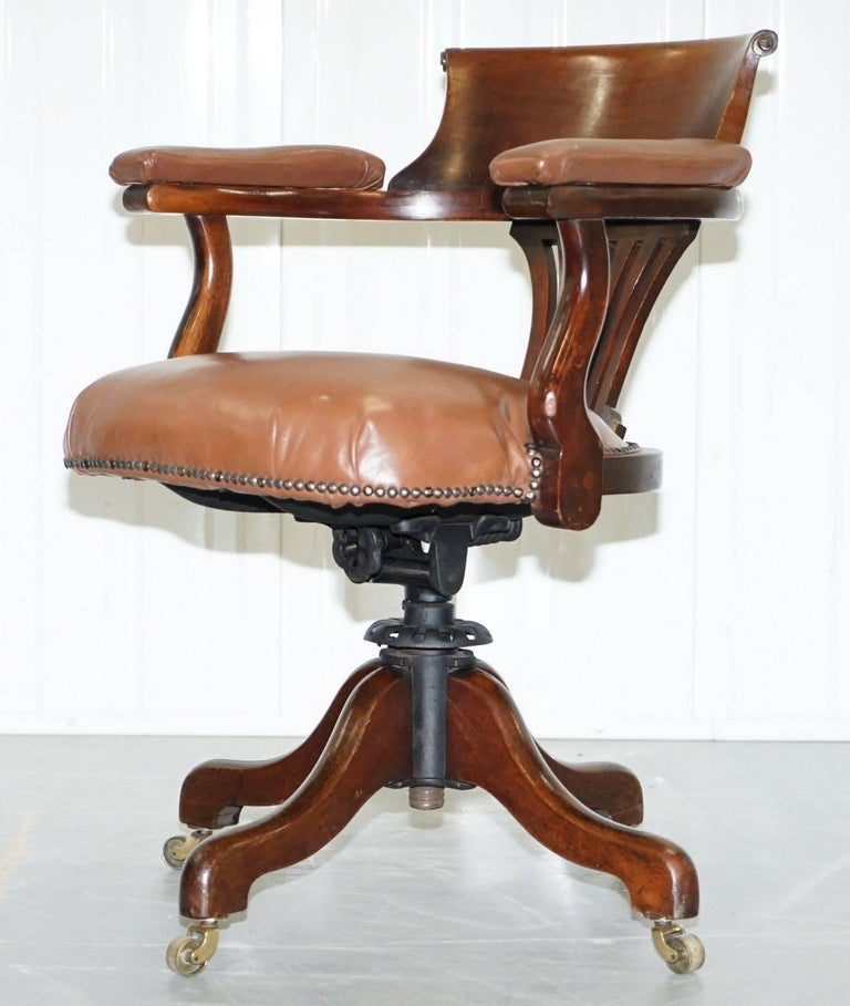 American Clical Victorian Brown Leather Captains Office Chair Original Swivel Frame For