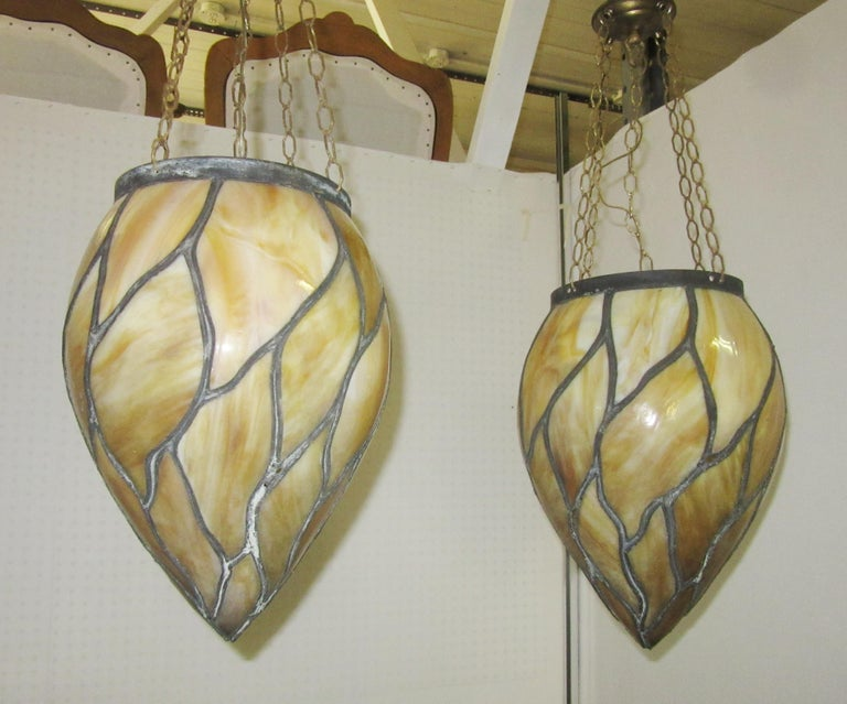 Late Victorian American Victorian Caramel Slag Stained Glass Pendants For Sale