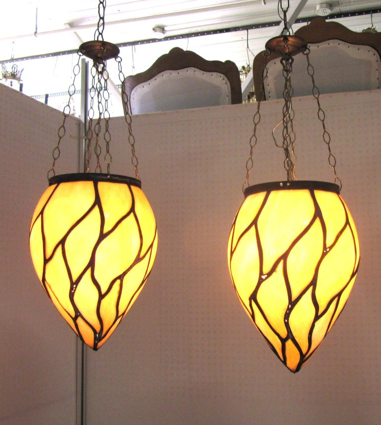 American Victorian Caramel Slag Stained Glass Pendants In Good Condition For Sale In New York, NY