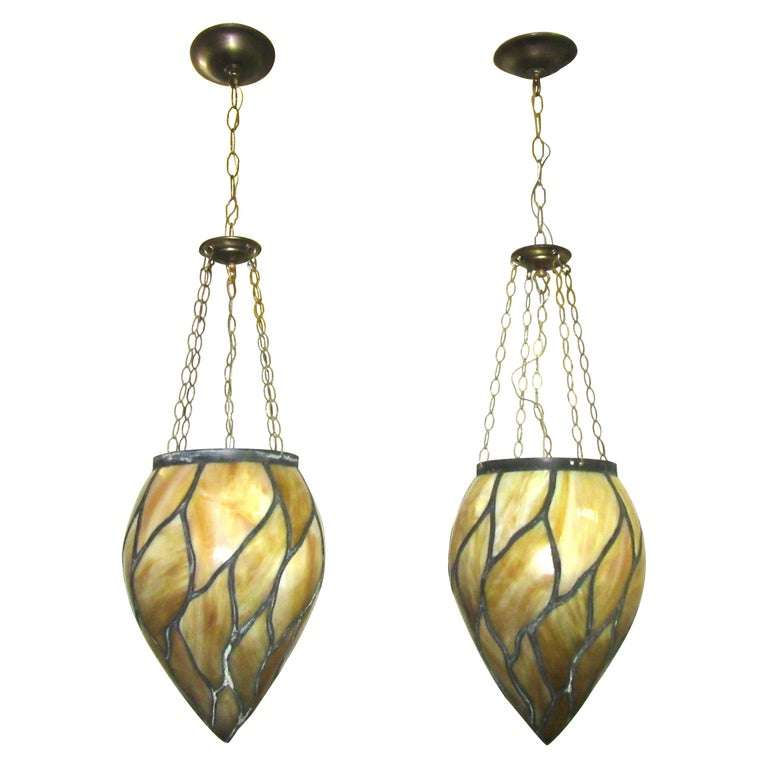 American Victorian Caramel Slag Stained Glass Pendants For Sale