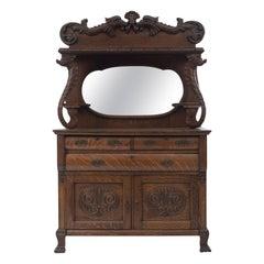 American Victorian Carved Oak Buffet Cabinet