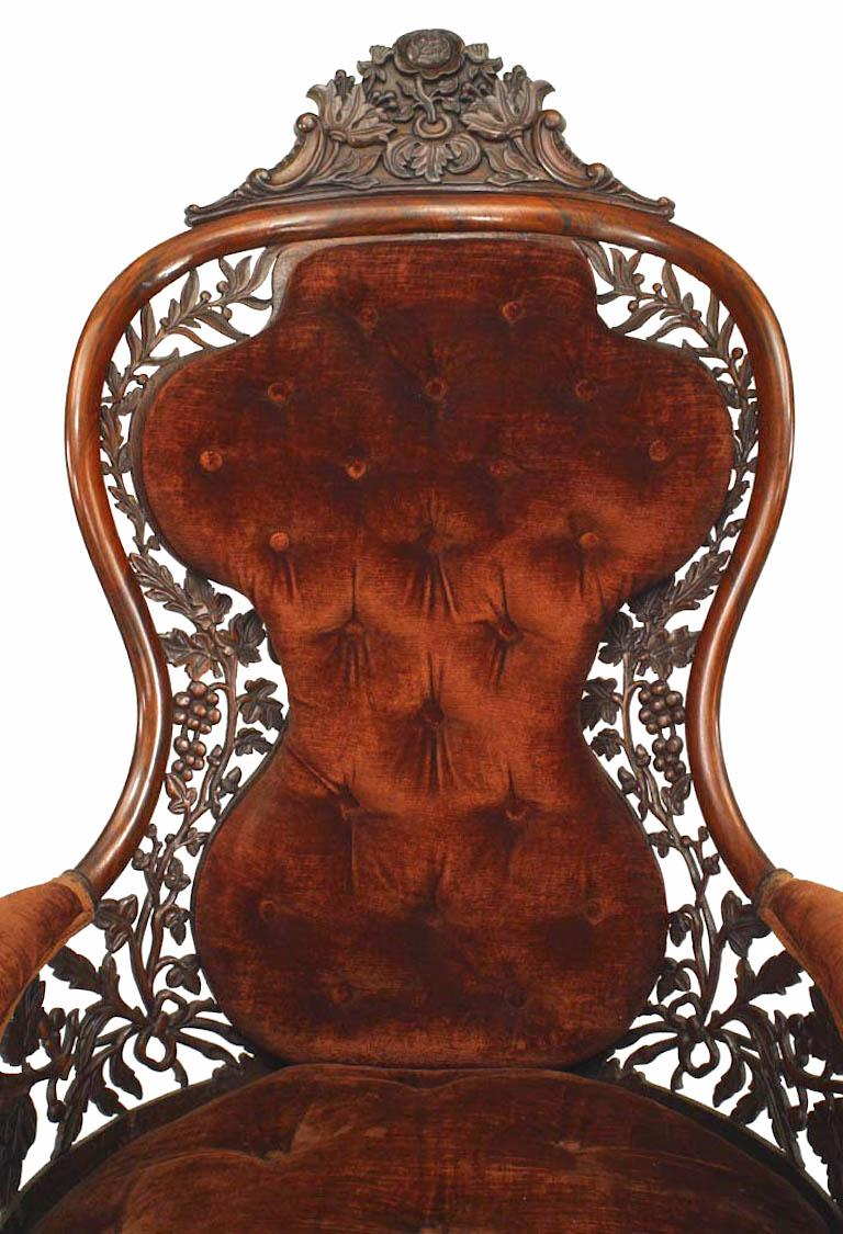 American Victorian Carved Rosewood Bergere Armchair with Filigree In Good Condition For Sale In New York, NY