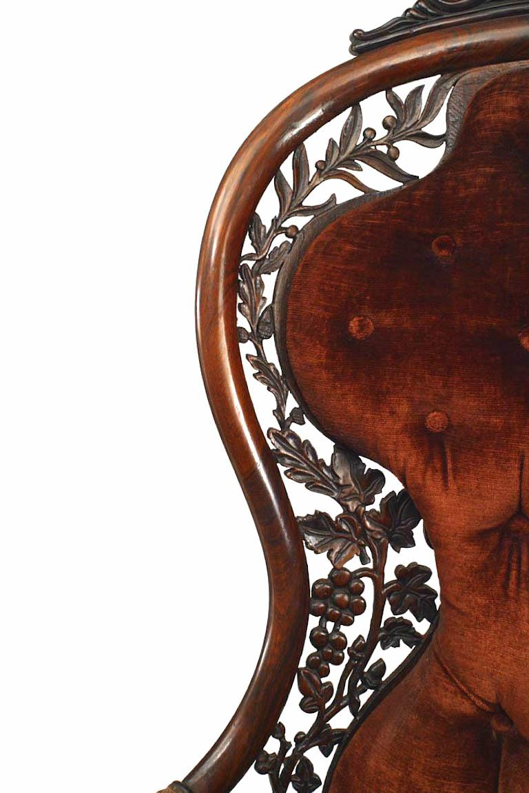 19th Century American Victorian Carved Rosewood Bergere Armchair with Filigree For Sale