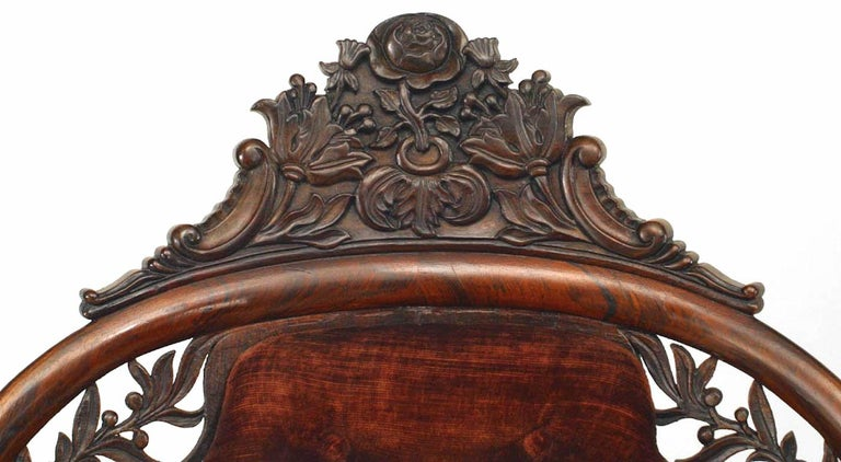 Velvet American Victorian Carved Rosewood Bergere Armchair with Filigree For Sale