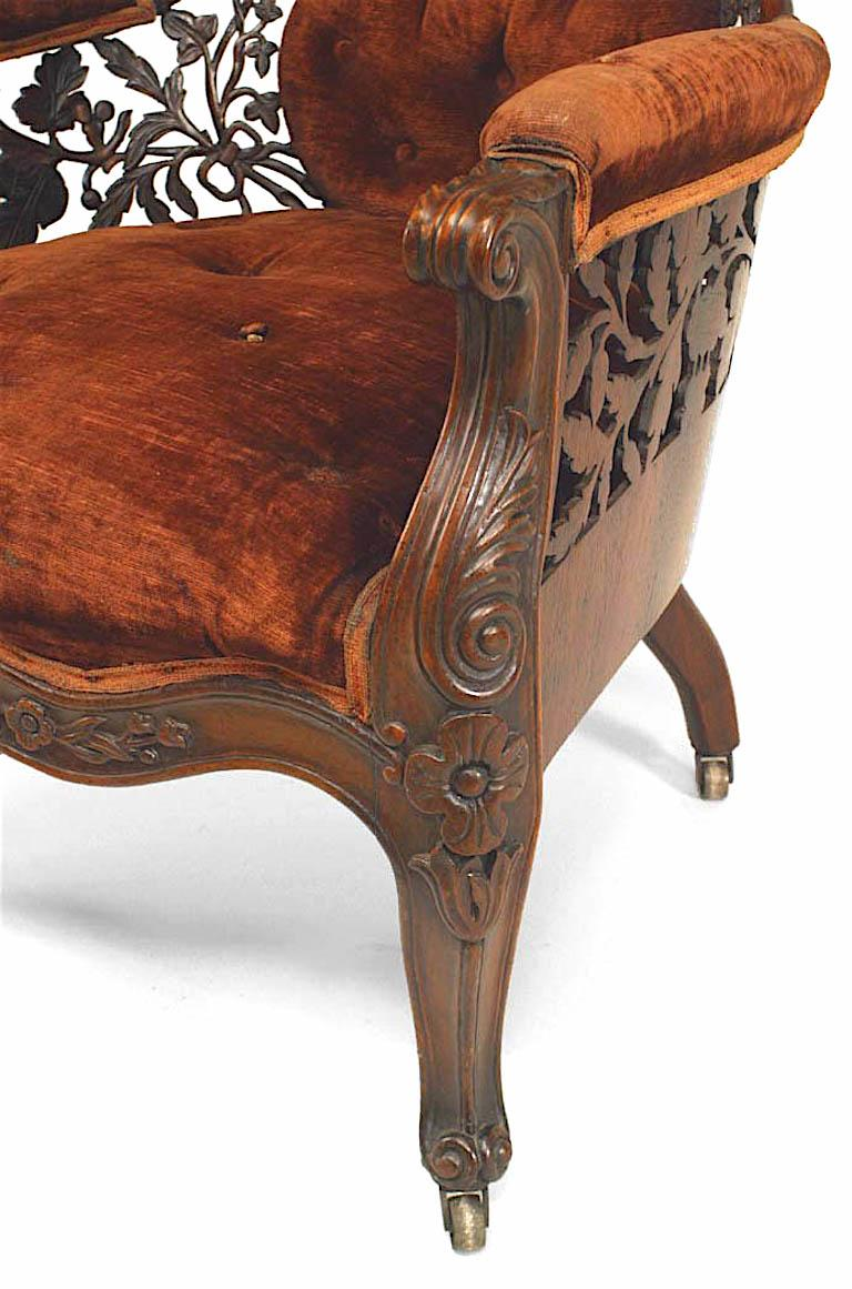 American Victorian Carved Rosewood Bergere Armchair with Filigree For Sale 2