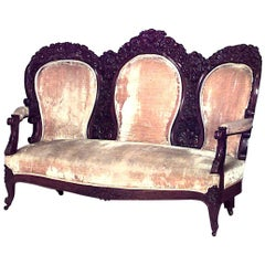American Victorian Carved Triple Oval Back Settee