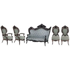 American Victorian Filigree Carved and Laminated Rosewood Five-Piece Salon Set