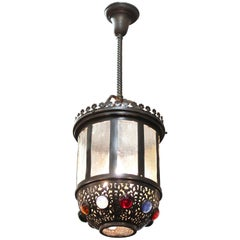 American Victorian Hallway Chandelier with Multi-Colored Jewels