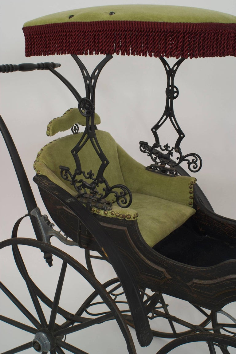American Victorian Iron And Wood Fancy Baby Carriage For