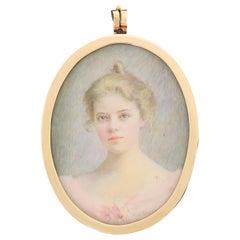 American Victorian Maria Judson Strean Portrait Miniature Pendant in 15K Gold