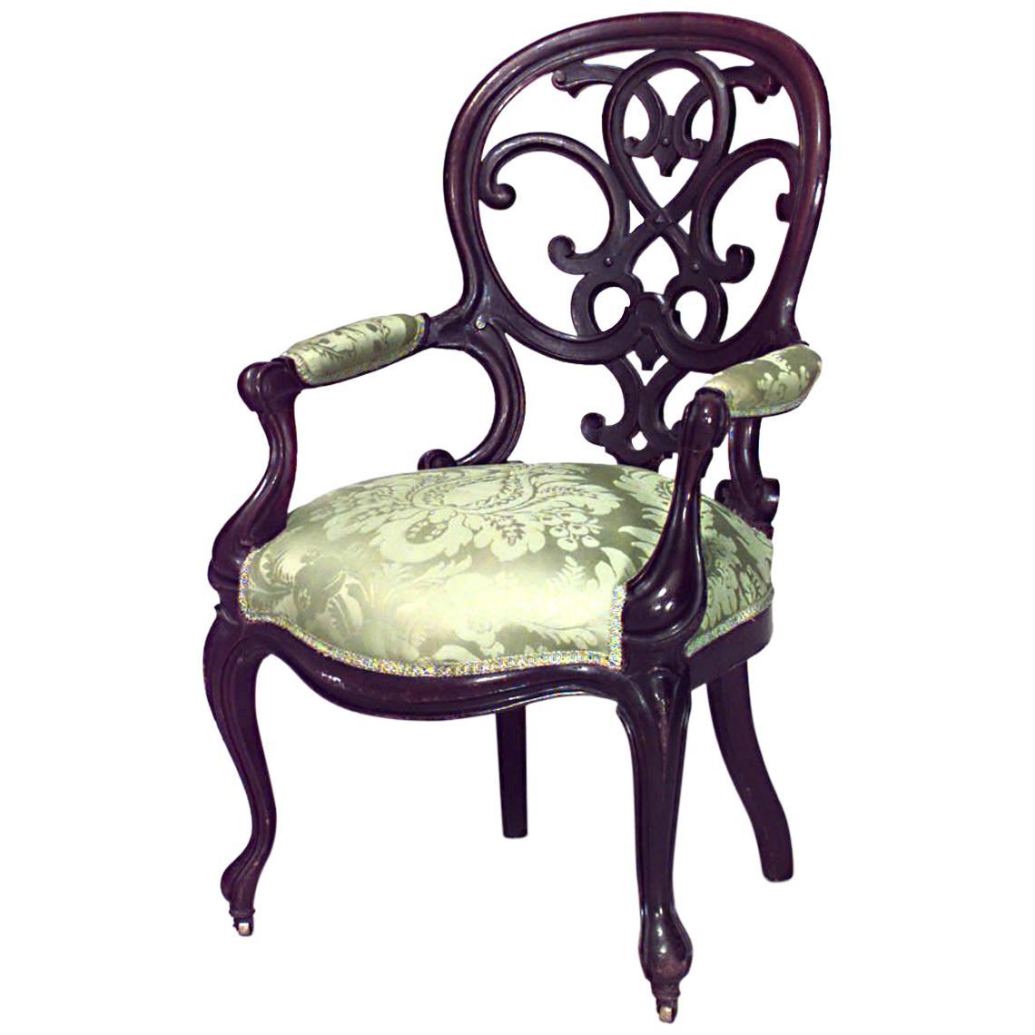 American Victorian Open Back Armchair