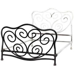 American Victorian Painted Iron Bentwood Design Bed