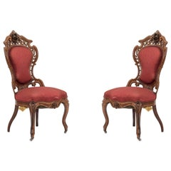 American Victorian Red Damask Side Chairs