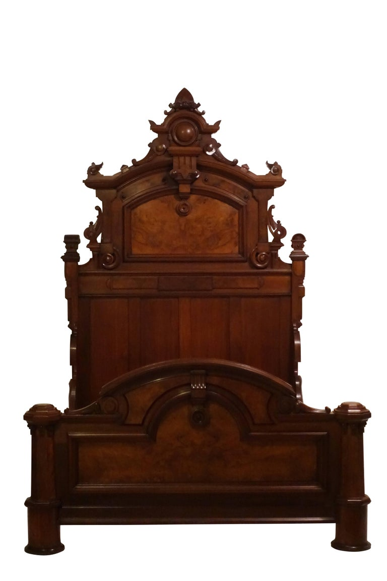 Carved American Victorian Renaissance Walnut and Burl Walnut Bed, circa 1880 For Sale