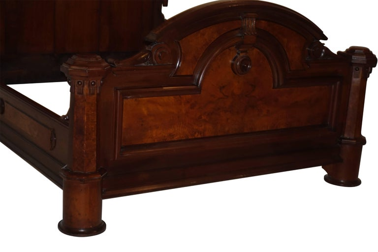 American Victorian Renaissance Walnut and Burl Walnut Bed, circa 1880 For Sale 4
