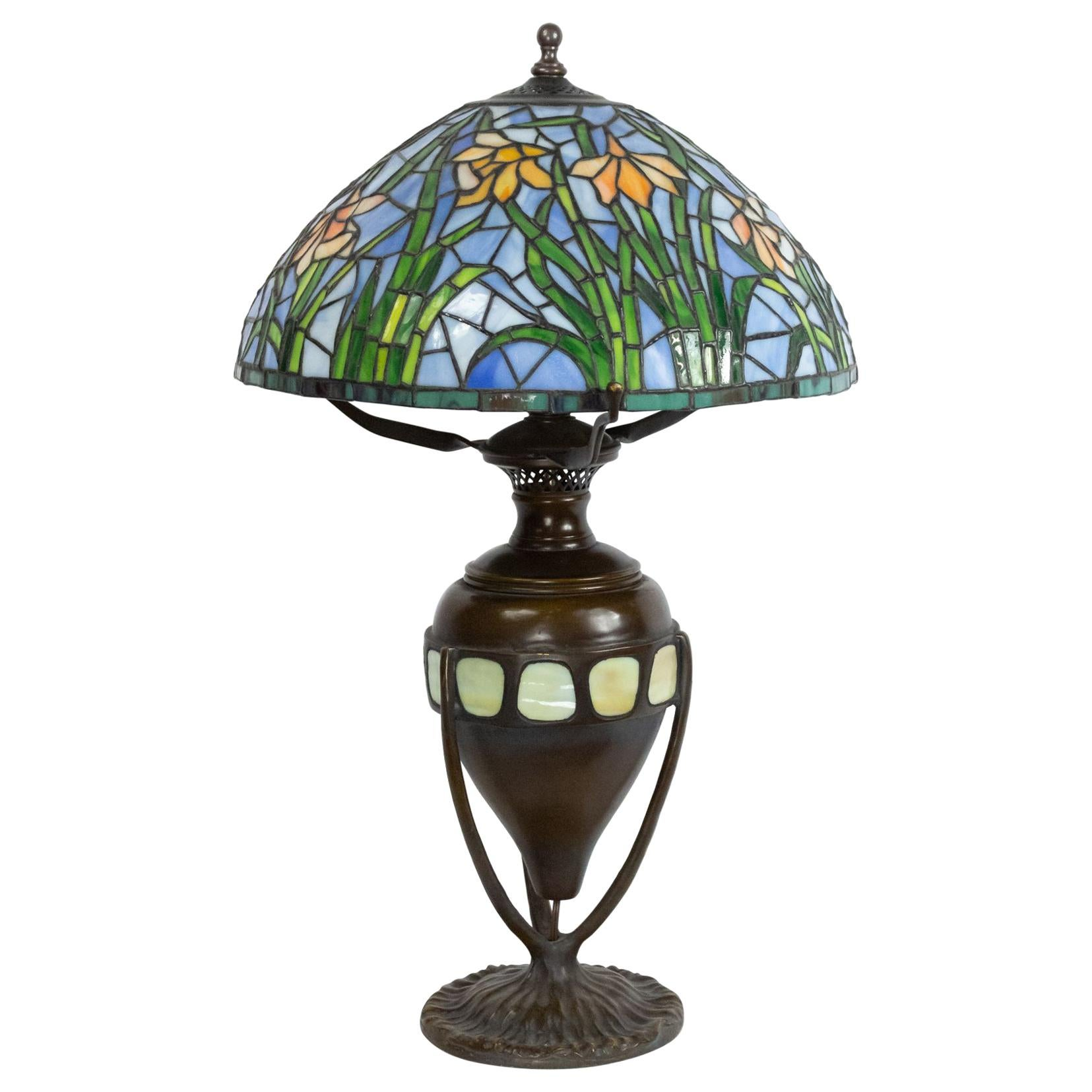 American Victorian Stained Glass Lamp