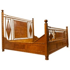 American Victorian Style Faux Bamboo Maple King-Sized Bed