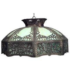 "American Victorian ""Tiffany Style"" Stained Glass Hanging Shade"