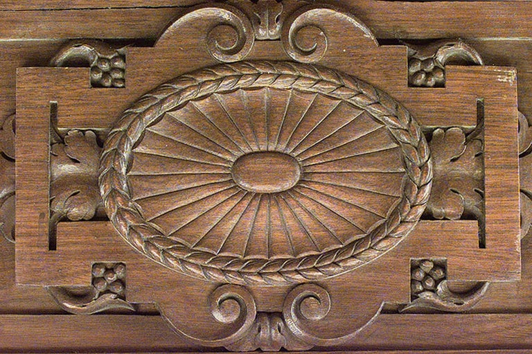 American Victorian walnut carved paneled room with 54