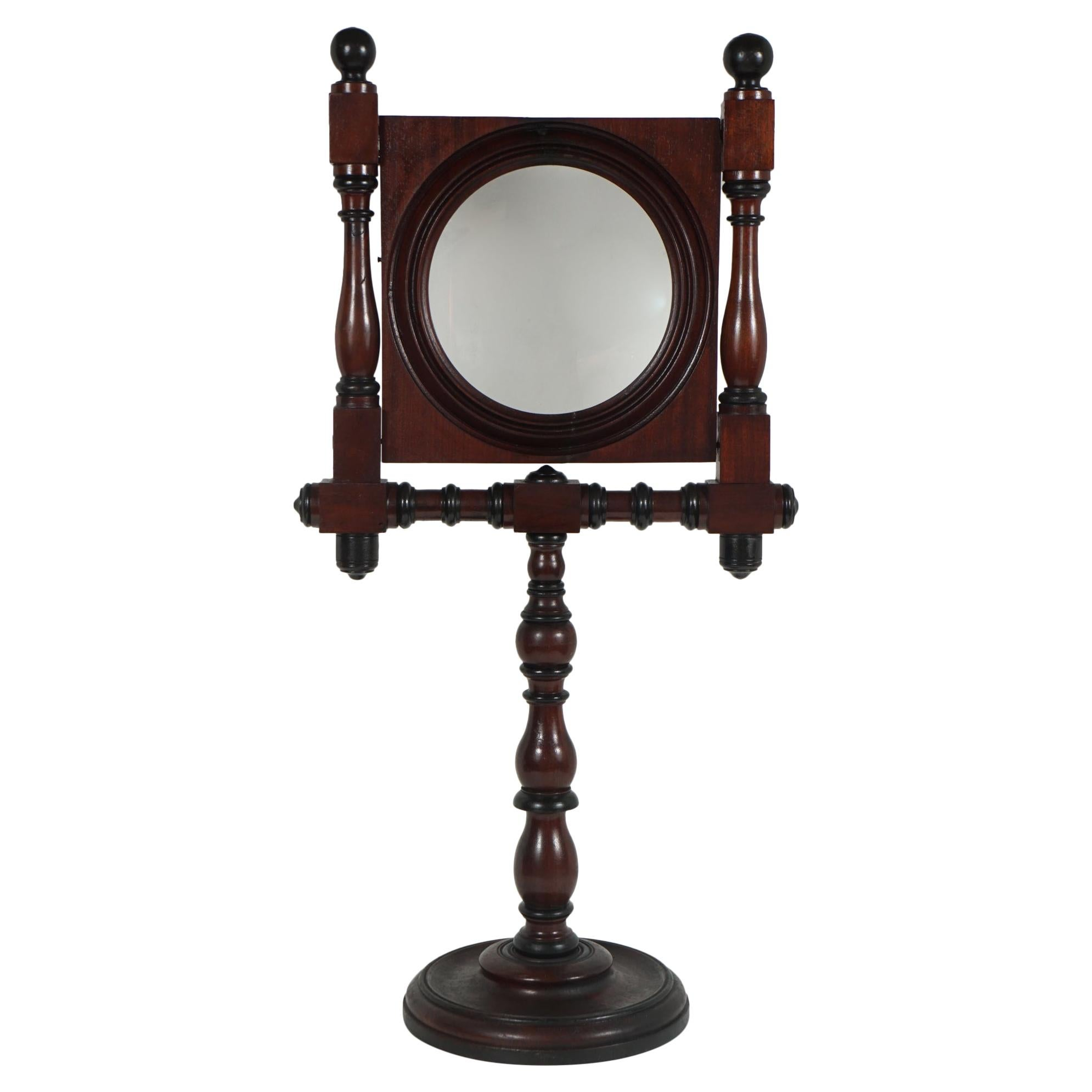 American Victorian Walnut Cased Standing Magnifying Glass